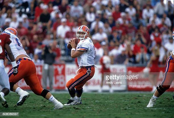 Quarterback Danny Wuerffel of the Florida Gators readies to throw during a game against the Arkansas Razorbacks on October 5 1996 at Razorback...