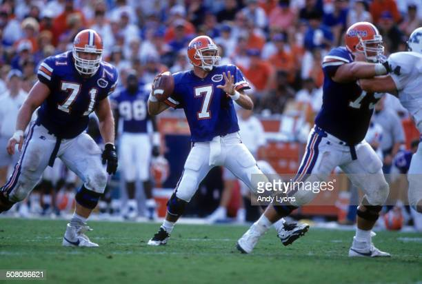 Quarterback Danny Wuerffel of the Florida Gators readies to throw during a game against the Kentucky Wildcats on September 28, 1996 at Ben Hill...