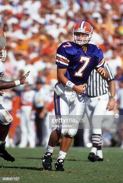 Quarterback Danny Wuerffel of the Florida Gators throws the ball during a game against the Tennessee Volunteers on September 18 1993 at Ben Hill...