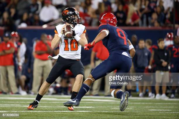 Quarterback Darell Garretson of the Oregon State Beavers throws a pass during the second half of the college football game against the Arizona...