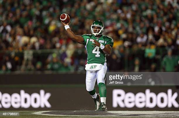 Quarterback Darian Durant of the Saskatchewan Roughriders drops back to pass against the Hamilton TigerCats in the first half during the 101st Grey...
