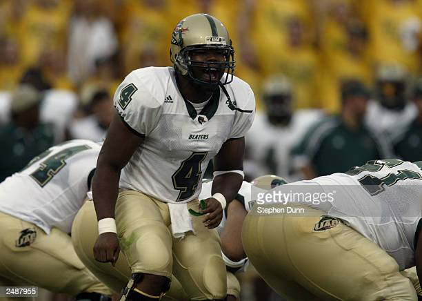 Quarterback Darrell Hackney of the University of Alabama at Birmingham Blazers calls a play during the game against the Baylor University Bears at...