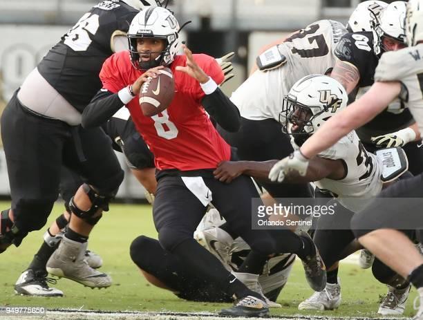 UCF quarterback Darriel Mack Jr scrambles during the UCF football Spring Game at Spectrum Stadium in Orlando Fla on Saturday April 21 2018