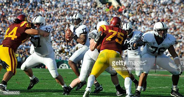 Quarterback Daryll Clark of the Pennsylvania State Lions looks for the open pass during the second half of the game against the University of...