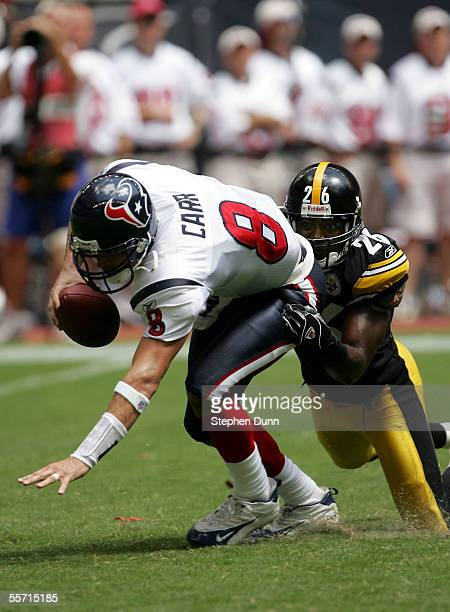 Quarterback David Carr of the Houston Texans is sacked on third down by cornerback Deshea Townsend of the Pittsburgh Steelers on September 18, 2005...