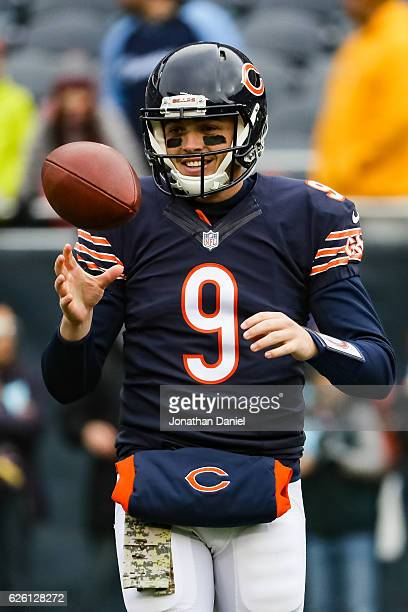 Quarterback David Fales warms up prior to the game a Tennessee Titans at Soldier Field on November 27 2016 in Chicago Illinois
