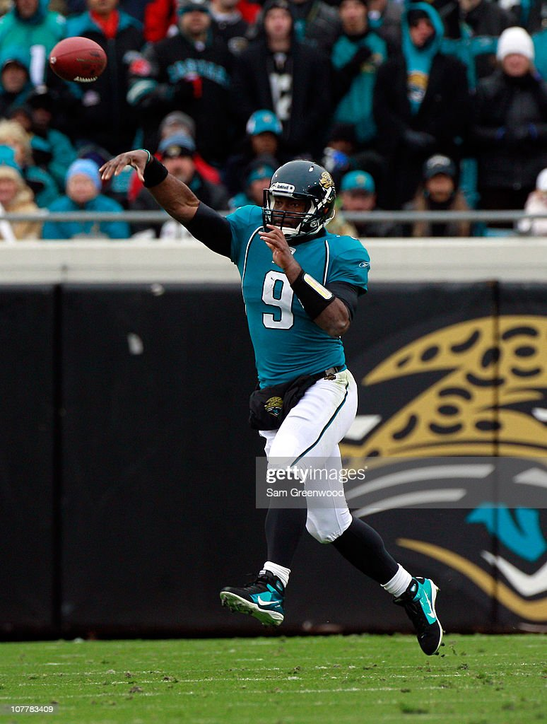 Quarterback David Garrard #9 of the Jacksonville Jaguars attempts a pass during the game against the Washington Redskins at EverBank Field on December 26, 2010 in Jacksonville, Florida.