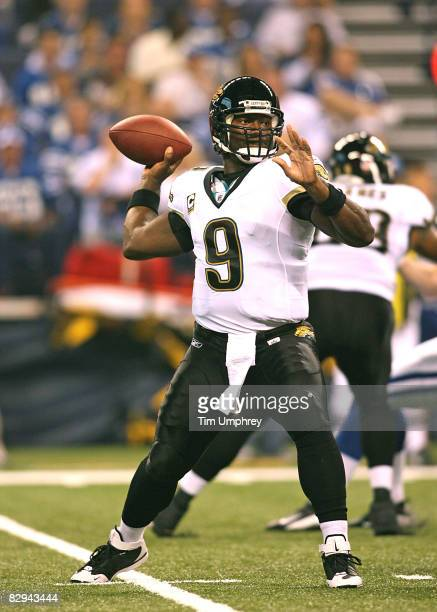 Quarterback David Garrard of the Jacksonville Jaguars passes down field in a game against the Indianapolis Colts at Lucas Oil Stadium on September...