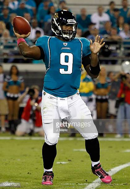 Quarterback David Garrard of the Jacksonville Jaguars throws a pass against the Tennessee Titans during the game at EverBank Field on October 18 2010...
