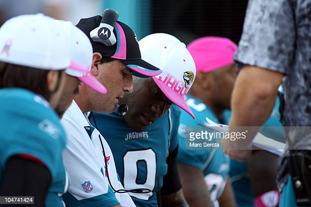 Quarterback David Garrard of the Jacksonville Jaguars with offensive coordinator Mike Shula against the Indianapolis Colts at EverBank Field on...