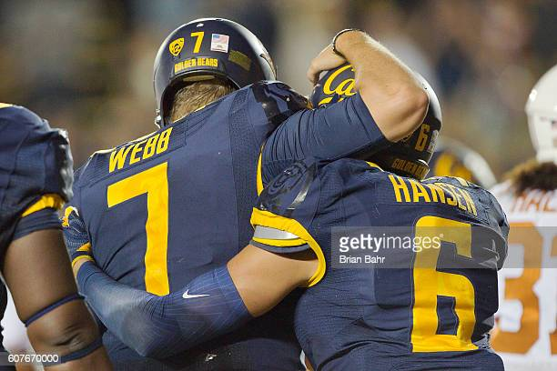 Quarterback Davis Webb and wide receiver Chad Hansen of the California Golden Bears celebrate a 12yard touchdown pass against the Texas Longhorns to...