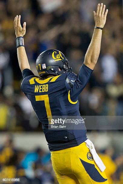 Quarterback Davis Webb of the California Golden Bears celebrates after running back running back Vic Enwere broke free to seal the win against the...