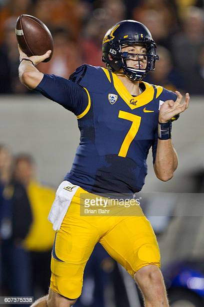 Quarterback Davis Webb of the California Golden Bears throws against the Texas Longhorns in the second quarter on September 17 2016 at California...