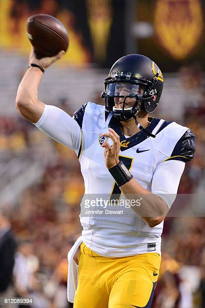 Quarterback Davis Webb of the California Golden Bears warms up prior to the game against the Arizona State Sun Devils at Sun Devil Stadium on...