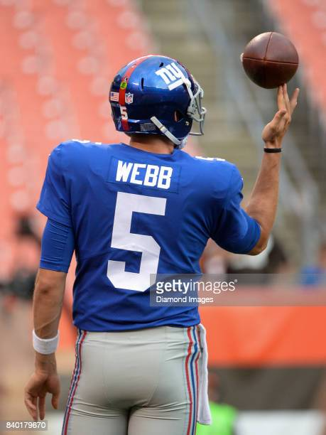 Quarterback Davis Webb of the New York Giants spins the football on his finger prior to a preseason game on April 27 2017 against the Cleveland...