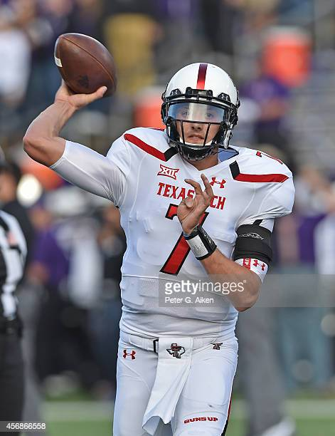 Quarterback Davis Webb of the Texas Tech Red Raiders prior to a game against the Kansas State Wildcats on October 4 2014 at Bill Snyder Family...