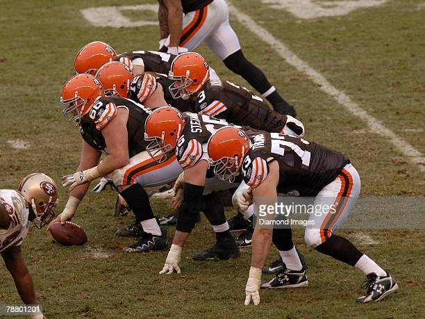 Quarterback Derek Anderson of the Cleveland Browns calls signals at the line of scrimmage during a game with the San Francisco 49ers on December 30...