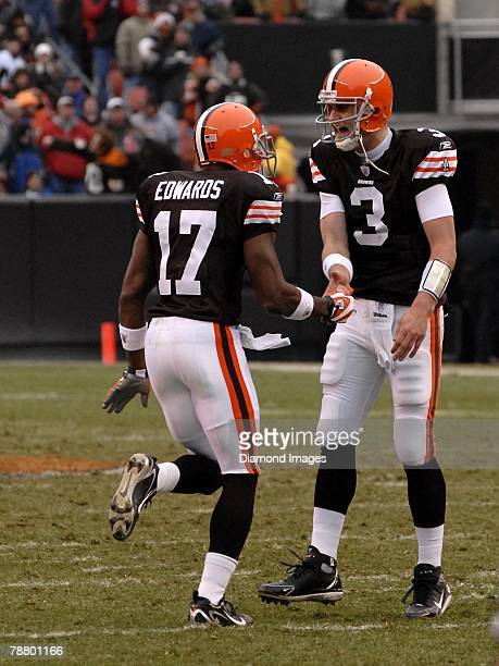 Quarterback Derek Anderson of the Cleveland Browns celebrates a 45yard touchdown pass to Braylon Edwards during a game with the San Francisco 49ers...