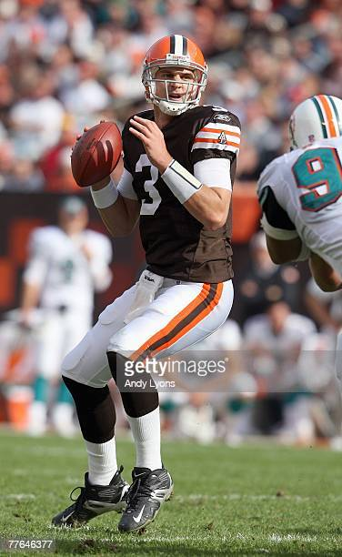 Quarterback Derek Anderson of the Cleveland Browns looks to pass during the NFL game against the Miami Dolphins at Cleveland Browns Stadium October...