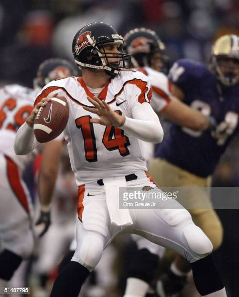 Quarterback Derek Anderson of the Oregon State Beavers passes against the Washington Huskies on October 16 2004 at Husky Stadium in Seattle Washington