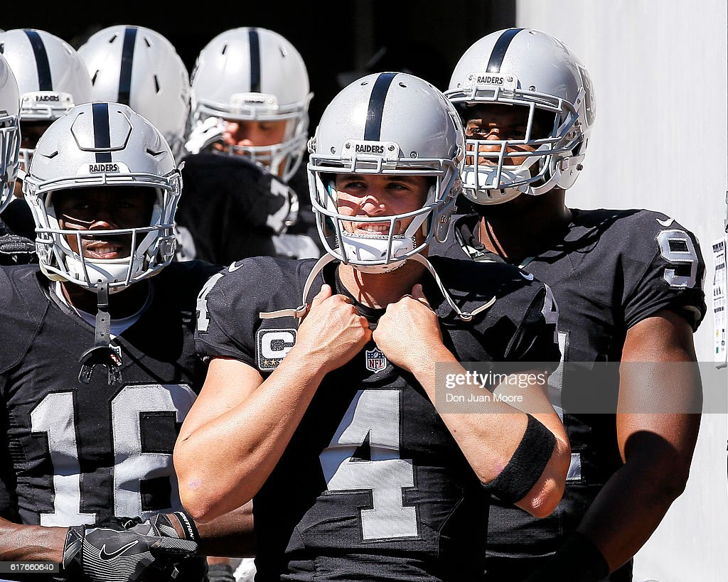 Quarterback Derek Carr #4 of the Oakland Raiders in the tunnel before entering the field for the game against the Jacksonville Jaguars at EverBank Field on October 23, 2016 in Jacksonville, Florida. The Raiders defeated the Jaguars 33 to 16.