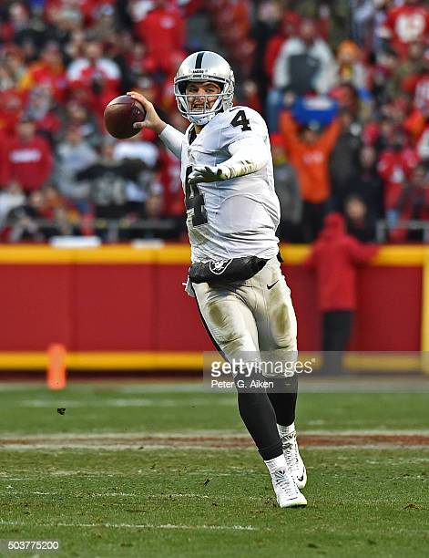 Quarterback Derek Carr of the Oakland Raiders throws a pass down field against the Kansas City Chiefs during the first half on January 3 2016 at...