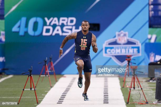 Quarterback Deshaun Watson of Clemson runs the 40yard dash during day four of the NFL Combine at Lucas Oil Stadium on March 4 2017 in Indianapolis...
