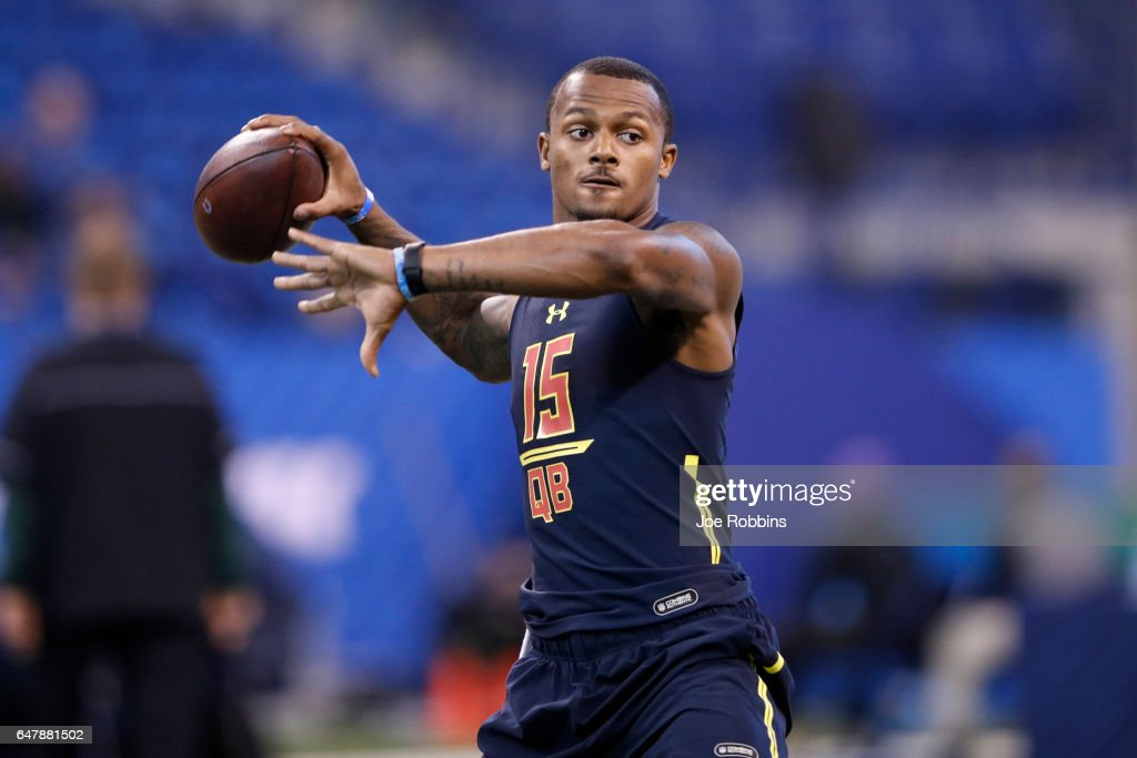 Quarterback Deshaun Watson of Clemson throws during a passing drill on day four of the NFL Combine at Lucas Oil Stadium on March 4, 2017 in Indianapolis, Indiana.