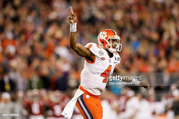 Quarterback Deshaun Watson of the Clemson Tigers celebrates after a touchdown during the 2017 College Football Playoff National Championship Game...