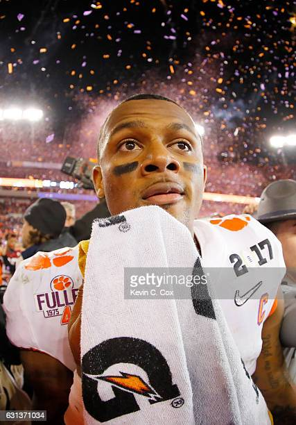 Quarterback Deshaun Watson of the Clemson Tigers reacts after defeating the Alabama Crimson Tide 3531 to win the 2017 College Football Playoff...