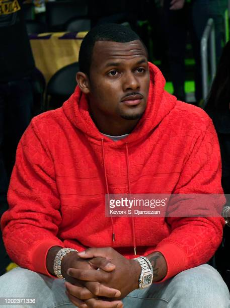 Quarterback Deshaun Watson of the Houston Texans attends the Los Angeles Lakers and Memphis Grizzlies basketball game at Staples Center on February...