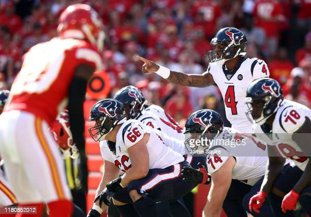 Quarterback Deshaun Watson of the Houston Texans audibles during the 2nd half of the game against the Kansas City Chiefs at Arrowhead Stadium on...