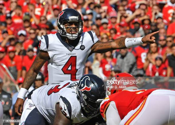 Quarterback Deshaun Watson of the Houston Texans calls out instructions from the line of scrimmage against the Kansas City Chiefs during the first...