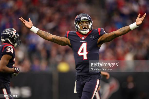 Quarterback Deshaun Watson of the Houston Texans reacts to a non call during the NFL Wild Card playoff game against the Buffalo Bills at NRG Stadium...