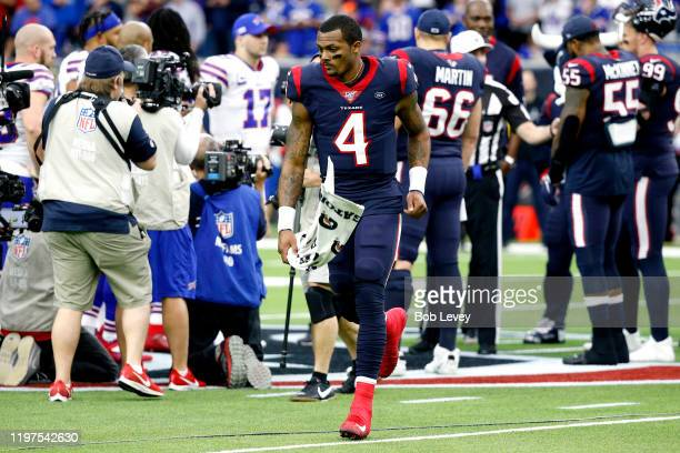 Quarterback Deshaun Watson of the Houston Texans runs on to the field during the AFC Wild Card Playoff game against the Buffalo Bills at NRG Stadium...