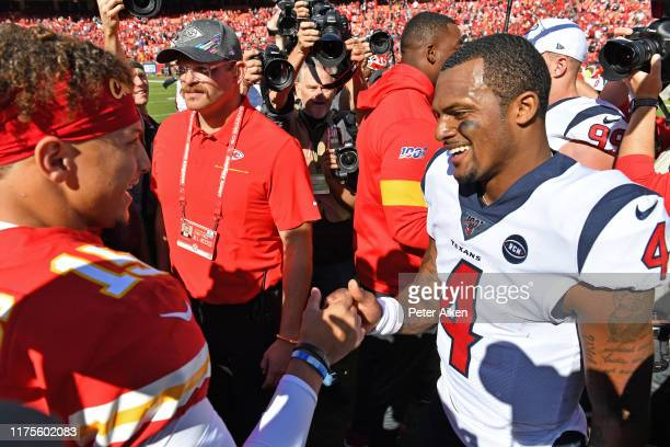 Quarterback Deshaun Watson of the Houston Texans talks with inside linebacker Reggie Ragland of the Kansas City Chiefs after beating the Chiefs at...