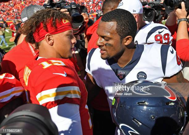 Quarterback Deshaun Watson of the Houston Texans talks with quarterback Patrick Mahomes of the Kansas City Chiefs after beating the Chiefs at...