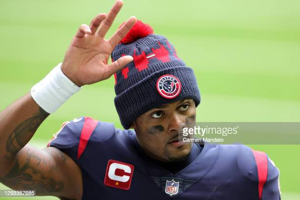 Quarterback Deshaun Watson of the Houston Texans walks off the field after a 37-31 loss to the Cincinnati Bengals at NRG Stadium on December 27, 2020...