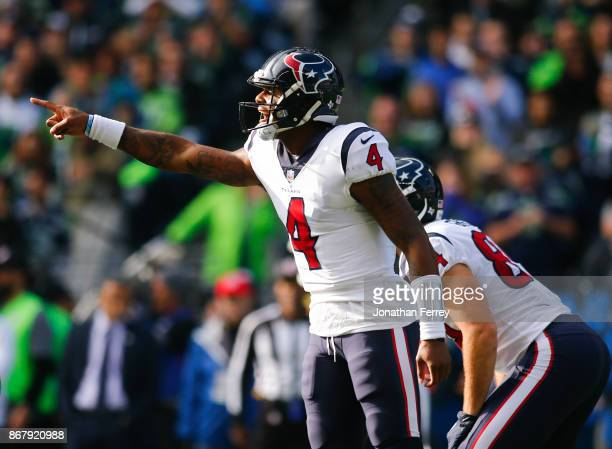 Quarterback Deshaun Watson of the Houston Texans yells at the line of scrimmage in the first quarter against the Seattle Seahawks at CenturyLink...