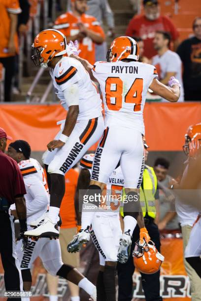 Quarterback DeShone Kizer celebrates with wide receiver Jordan Payton of the Cleveland Browns after the two connected for a touchdown during the...