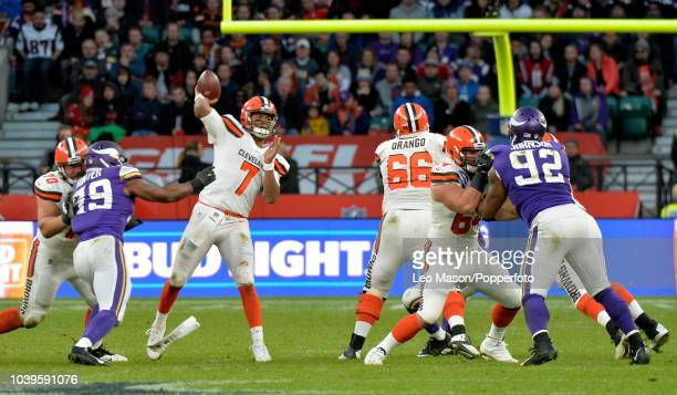 Quarterback DeShone Kizer of the Cleveland Bear's throws a pass during the NFL International Series match between Minnesota Vikings and Cleveland...