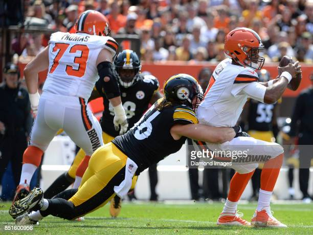Quarterback DeShone Kizer of the Cleveland Browns is sacked by linebacker Anthony Chickillo of the Pittsburgh Steelers in the first quarter of a game...