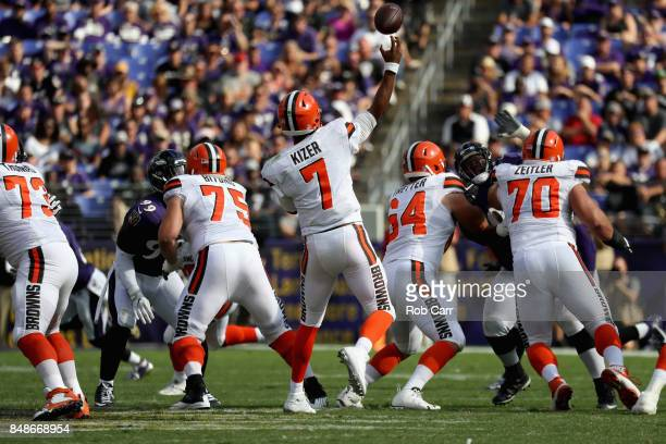 Quarterback DeShone Kizer of the Cleveland Browns throws a pass against the Baltimore Ravens at MT Bank Stadium on September 17 2017 in Baltimore...