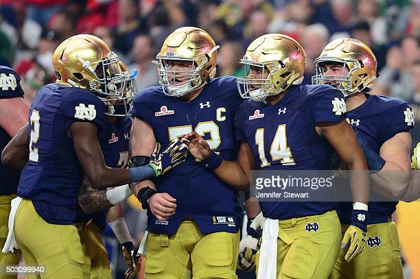 Quarterback DeShone Kizer of the Notre Dame Fighting Irish celebrates his second quarter touchdown with wide receiver Chris Brown during the...