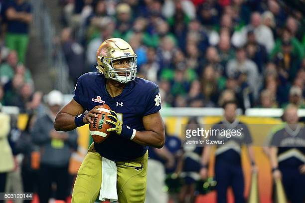 Quarterback DeShone Kizer of the Notre Dame Fighting Irish looks to throw during the second half of the BattleFrog Fiesta Bowl against the Ohio State...