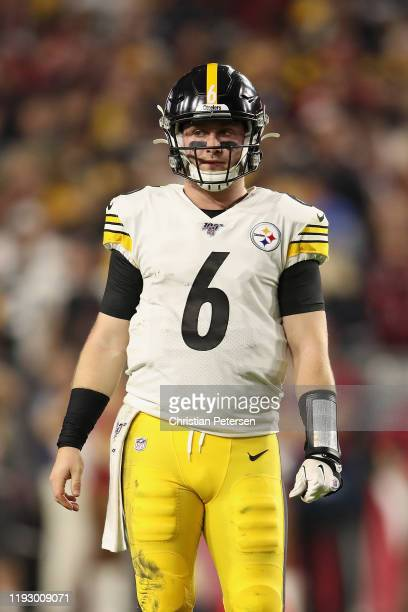 Quarterback Devlin Hodges of the Pittsburgh Steelers during the second half of the NFL game against the Arizona Cardinals at State Farm Stadium on...