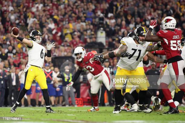 Quarterback Devlin Hodges of the Pittsburgh Steelers throws a pass during the first half of the NFL game against the Arizona Cardinals at State Farm...