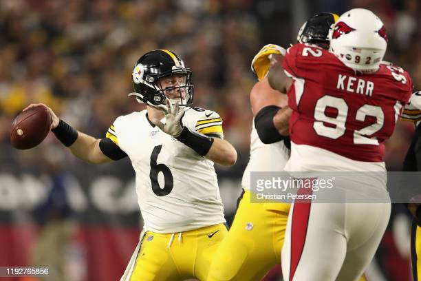 Quarterback Devlin Hodges of the Pittsburgh Steelers throws a pass during the second half of the NFL game against the Arizona Cardinals at State Farm...