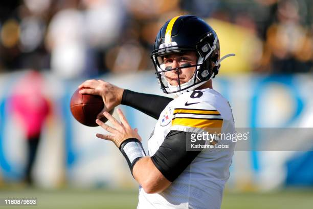 Quarterback Devlin Hodges of the Pittsburgh Steelers warms up ahead of his first career NFL start against the Los Angeles Chargers at Dignity Health...