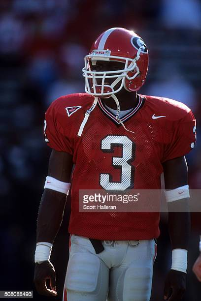 Quarterback D.J. Shockley of the Georgia Bulldogs looks on during the game against the Auburn Tigers on November 10, 2001 at Sanford Stadium in...